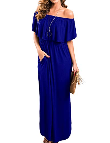 Uniboutique Womens Casual Off Shoulder Maxi Long Dress with Pockets