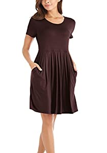 I2CRAZY Women's Casual Pleated Swing Dresses with Pockets Knee Length(Short Sleeve-Coffee,S)