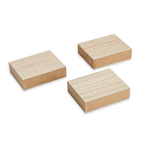 Juvale Unfinished Wood Blocks - 3-Pack Rectangular Wooden Blocks, for Sign Block DIY Craft, Kids Game, 3.88 x 3.1 x 1 Inches -