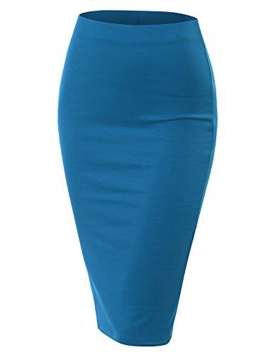 Doublju Stretch Knit Midi Pencil Skirt with Back Slit for Women with Plus Size Turquoise 3XL by Doublju