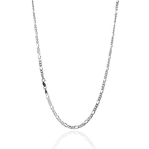 (925 Sterling Silver 3.00 mm Beveled Dia-Cut Figaro Chain Necklace with Lobster Clasp-Rhodium)