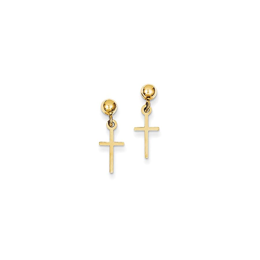 Small Polished Latin Cross Dangle Post Earrings in 14k Yellow Gold