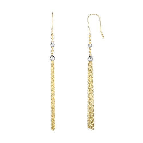Finejewelers 14 Kt Two Tone Gold 85x4mm Graduated Two Tone Small Round Bead On Cable Chain Tassel