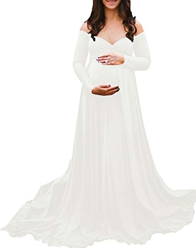 (Saslax Maternity Off Shoulders Long Sleeve Half Circle Gown for Baby Shower Photo Props Dress Off-White S)