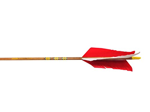 (Rose City Archery Port Orford Cedar Hunter Flu-Flu Arrows (6-Pack), Walnut Stain Shaft, 11/32-Inch Diameter/50-55-Pound Spine)