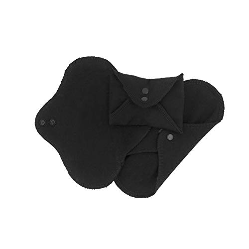 Imse Vimse Reusable Organic Cotton Menstrual Pads with Wings, 3 Pack (Panty Liner, Black)