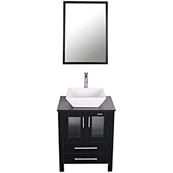 This Item Eclife 24 Inch Modern Bathroom Vanity Units Cabinet And Sink Stand Pedestal With White Square Ceramic Vessel Sink With Chrome Bathroom Solid Brass