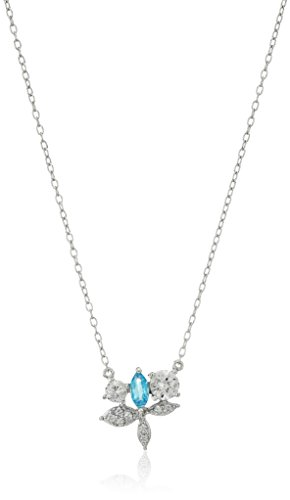 Rhodium Plated Sterling Silver Swiss Blue Topaz and Created White Sapphire Pendant Necklace, 18