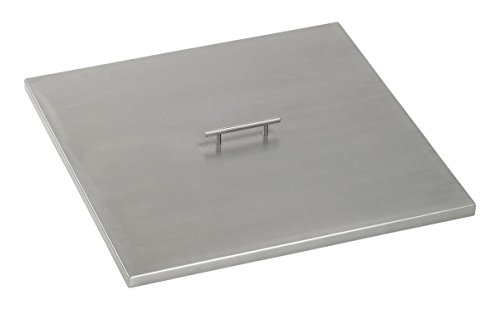 American Fireglass CV-SQP-24 Stainless Steel Cover For 24 Inch Length x 24 Inch Width Drop-In Fire Pit Pan