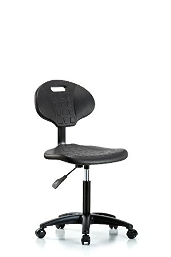 LabTech Seating LT43905 Tulip Medium Bench Chair, Polyurethane, Nylon Base – Casters