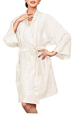 onlypuff Kimono Robes Women's Satin Bathrobes Oblique V-Neck Solid Color
