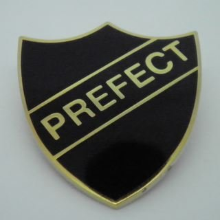 Prefect Enamel School Shield Badge - Black - Pack of 10
