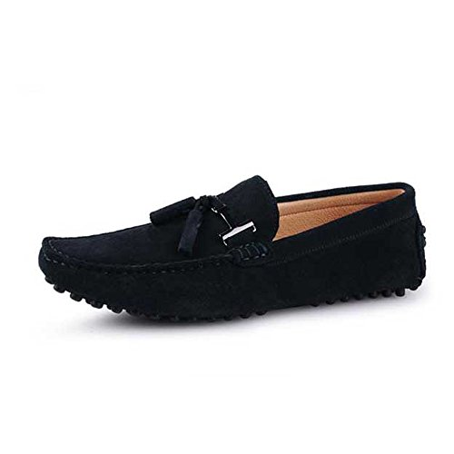Seude Leather Mens Comfort Tasselled Loafers Slip on Car Shoes Mens Driving Shoes Navy Blue AAlGz5
