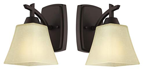 Westinghouse Midori One-Light Indoor Wall Fixture, Oil Rubbed Bronze Finish with Amber Linen Glass 2 Pack (One Light 2 Pack)
