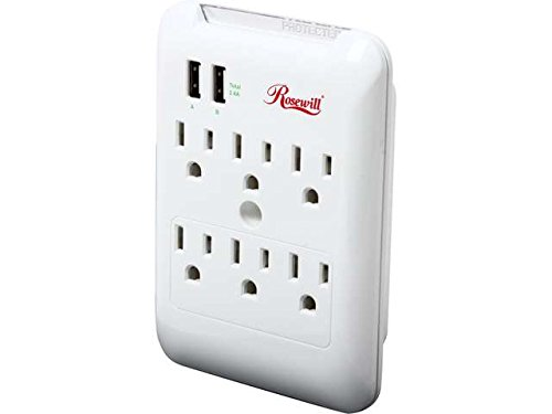 Rosewill 6 Outlet Wall Tap Power Surge with 2 USB Charging P