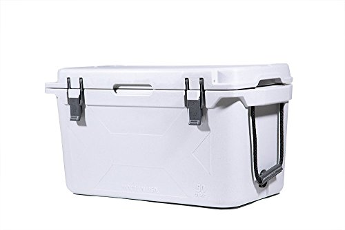 BISON COOLERS 50 QT (GEN2) Ice Chest | Rotomolded Camping Cooler | Made in USA (White)