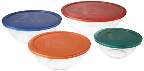 - Pyrex Smart Essentials Mixing Bowl Set Including Locking Lids (Clear), 8 piece