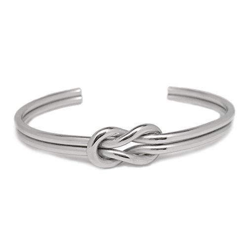 Loralyn Designs Womens Love Knot Infinity Cuff Bracelet Stainless Steel Adjustable - Silver