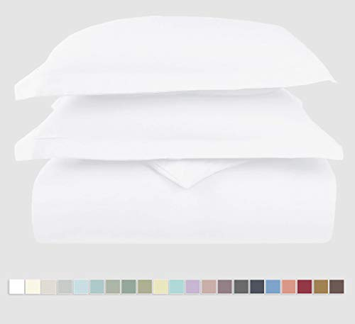 (Pizuna 400 Thread Count Cotton Duvet Cover Set Queen White, 100% Long Staple Cotton Bed Set Queen/Full Size, Soft Sateen Bedding Set with Button Closure (100% Cotton White Quilt Cover Set Queen/Full))