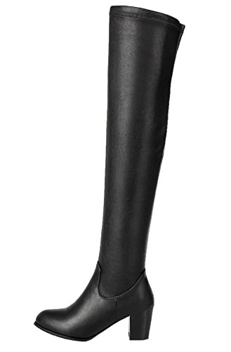 HooH Women's Over The Knee Boots Winter Elastic Kitten Chunky Knee High Boots Black ZqD6Dr037