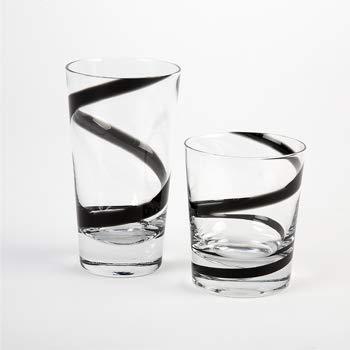 Swirl Designed Glasses in Rocks & Highball (Black, Highball)