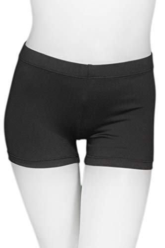 - ZIZI Baby Girls Sparkle Dance Tumbling Athletic Gymnastics Lycra Hipster Dancewear Black Short 2-3T