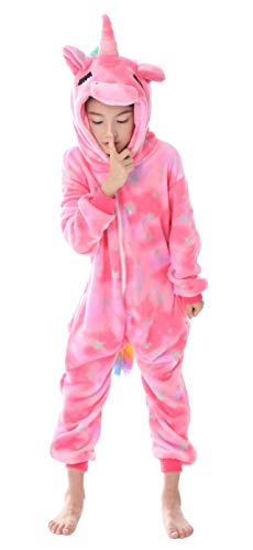 AceChic Unisex Animal Onesie for Kids Halloween Costume Christmas Pajamas Playsuit Jumpsuit Close-Eyes Pegasus 130 Pink -