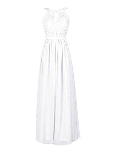Bowith Robes De Demoiselle D'honneur De Perles De Femmes Longues Robes De Bal Blanc