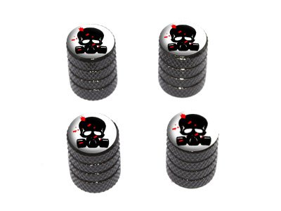 - Graphics and More Zombie Outbreak Response Team - Blood - Skull Gas Mask - Tire Rim Wheel Valve Stem Caps - Black