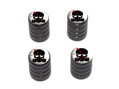 (Graphics and More Zombie Outbreak Response Team - Blood - Skull Gas Mask - Tire Rim Wheel Valve Stem Caps - Black)