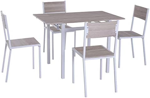 HOMCOM 5 Piece Expanding Drop Leaf Dining Table and Chairs Set- Light Grey White