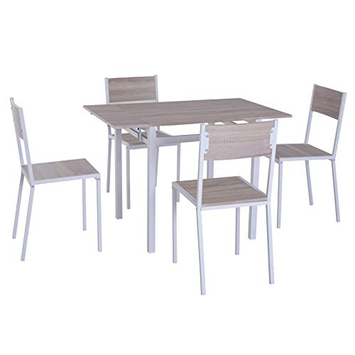 IDS Home Clear Glass Dining Table and Dark Gray Chair Set, Kitchen Dining Room Furniture Rust Resistant Metal Leg Frame 1 Table, Wooden Legs