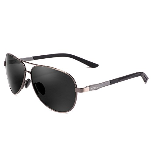NIEEPA Aviator Polarized Sunglasses Mens Al-Mg Metal Ultra Glasses Grey  Lens Gun Frame ... 4c8217a339a0