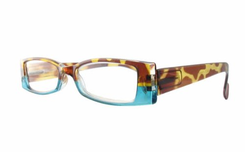 Calabria 4371 Bi-Color Reading Glasses w/ Case in Tortoise-Blue - Color Blue Tortoise