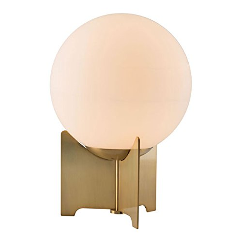 Zuo 56049 Pearl Table Lamp, White & Brushed Bronze