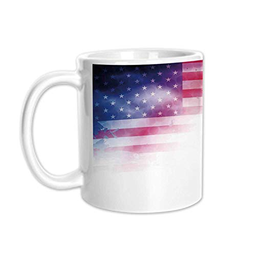 - 4th of July Decor Stylish White Printed Mug,American Flag Background with Stars and Stripes Famous Country US Design for Living Room Bedroom,3.1