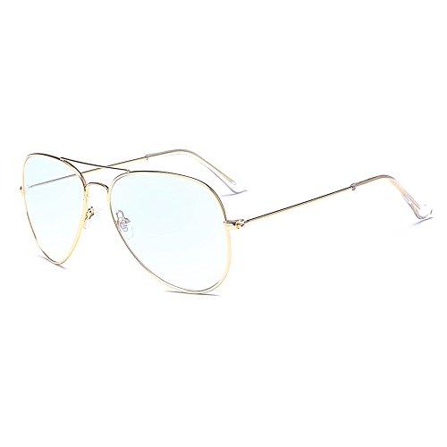 ALWAYSUV klassische Brille Metallgestell Golden Brillenfassung Aviator Vintage Brille Dekobrillen