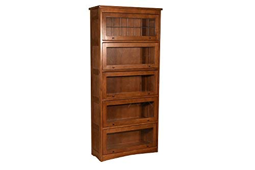 Mission Craftsman Quarter Sawn Oak 5 Stack Leaded Glass Barrister Bookcase