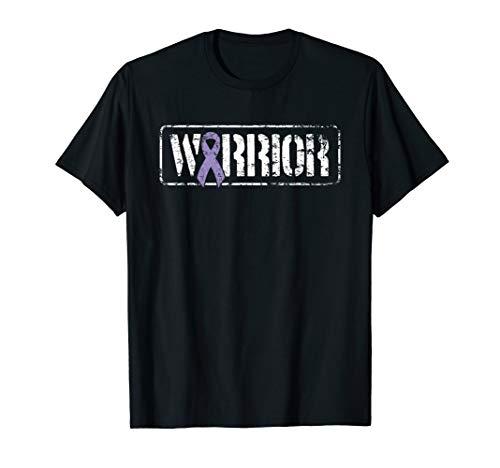 (Testicular Cancer Warrior - Purple Military Style Ribbon T-Shirt)