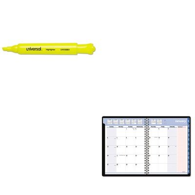 KITAAG76PN0605UNV08861 - Value Kit - At-a-Glance QuickNotes Special Edition Recycled Monthly Planner (AAG76PN0605) and Universal Desk Highlighter (UNV08861)