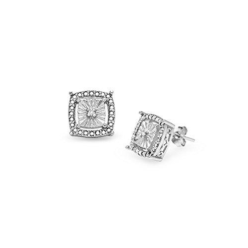 Sterling Silver Diamond Accent Square Illusion Stud Earrings, - Earrings Accent Square Diamond
