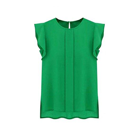 Kangma Women Summer Casual Loose Chiffon Short Tulip Sleeve Tops Shirt Blouse Green