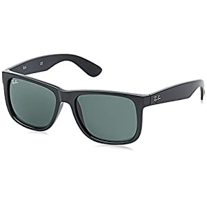 Ray-Ban Men's Justin Rectangular Sunglasses, Black, 55 mm