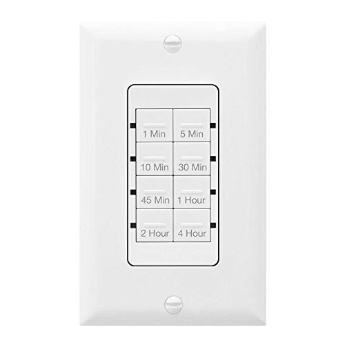 (TOPGREENER Countdown Timer Switch, In-Wall Electrical Switch for Fans, Lights, Ventilation, 1-5-10-30-45 min, 1-2-4 hr, 600W LED, 1/2HP, Neutral Wire Required, Interchangeable Face Colors, TGT08-W)