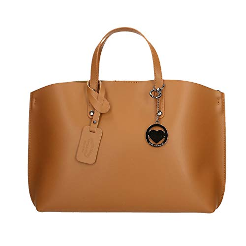 Chicca Borse Bag Borsa a Mano in Pelle Made in Italy 47x30x14 cm Cuoio