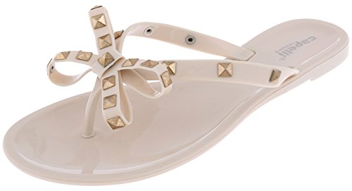Capelli New York Ladis Opaque Jelly Thong with Studded Bow Trim Nude (Cute Flat Sandals)