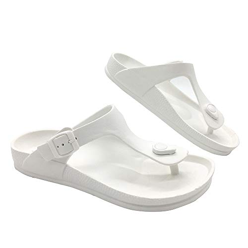 LUFFYMOMO Comfort Footbed Eva Flip fiop Thong Sandals for Womens Mens (12 D (M) US Men / (Insole Length) 11.42 inch, White) (Best Mens Thong Sandals)