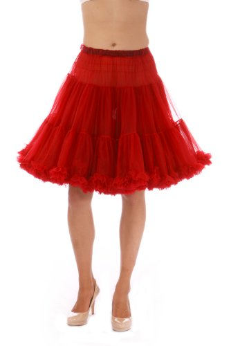 (Malco Modes Luxury Vintage Knee-Length Crinoline Petticoat Skirt Pettiskirt, Adult Tutu for Rockabilly 50s Square Dance or Lolita Dress; Plus Size Petticoat Available Ruby Red)