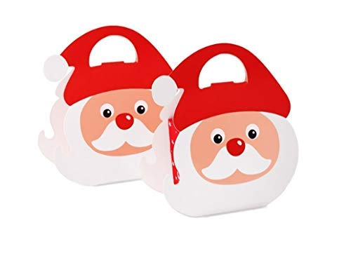 10 Pieces 3D Christmas Santa Cardboard Treat Boxes, Christmas Cookie Gift Boxes, School Classroom Party Favor Boxes ()