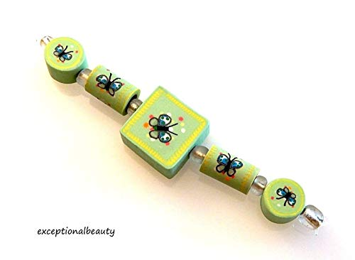 5 Assorted Fimo Polymer Clay Fun Green Butterfly Coin Square Tube 2 Sided - Beads Clay Butterfly